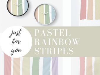 Pastel Rainbow Hand Drawn Stripes