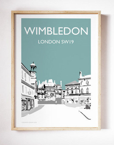 Wimbledon Village, Teal A4 + A3 prints