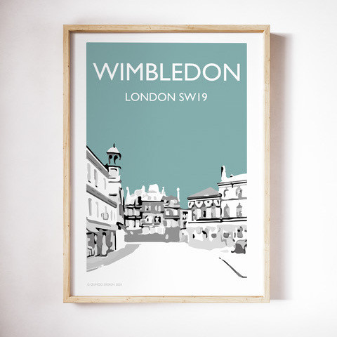 Wimbledon Village, Teal A4 + A3 prints