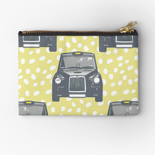 London Taxi on a yellow spot background zipper pouch