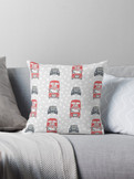 London Taxi and Bus cushion pillow with a spot background