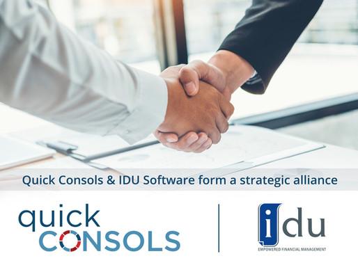 Quick Consols and iDU form a strategic alliance.