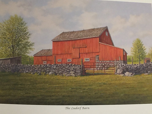 """Ludorf Barn"" Lithograph, by David Merrill"