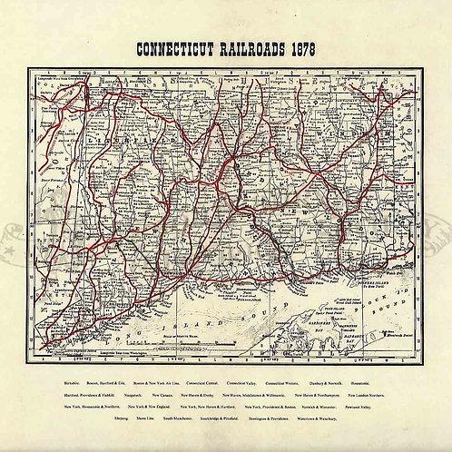 Connecticut Railroads Map, 1878
