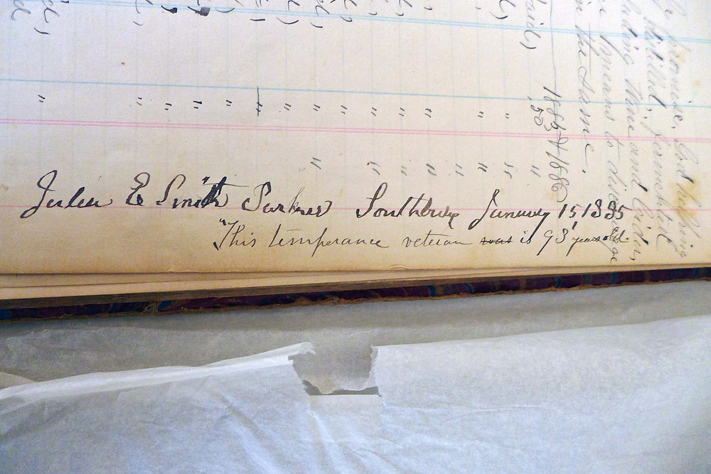 """Signature of Julia E. Smith Parker January 15, 1885 """"this temperance veteran is 93 years old"""""""