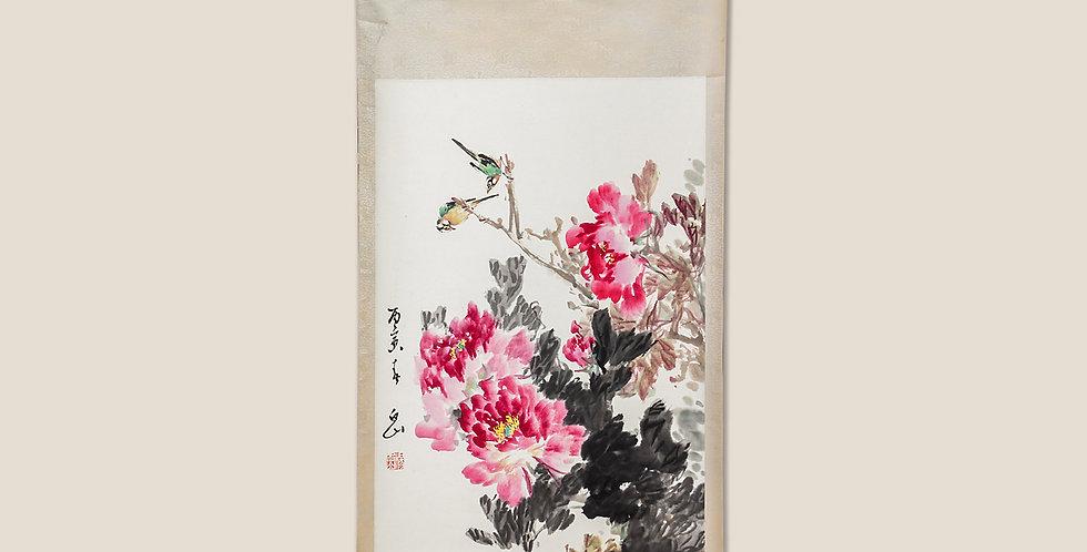Kakejiku. Pájaros sobre peonias