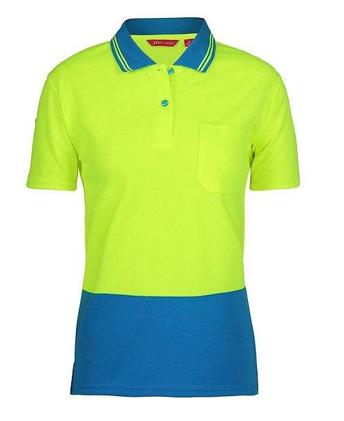 Womens Hi Vis S/S Comfort Polo - Lime/Aqua