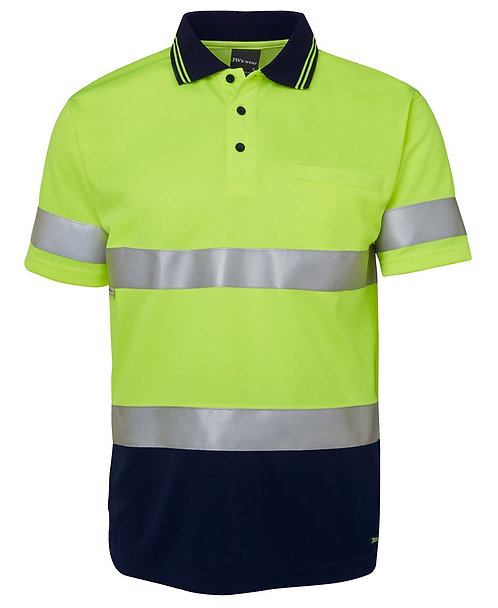 Hi Vis S/S (D+N) Traditional Polo - Lime/Navy