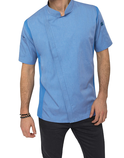 Springfield Mens Zipper Chef Jacket - Sky Blue
