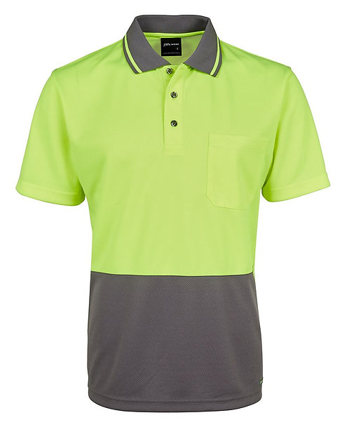 Hi-Vis Non Cuff Traditional Polo - Lime/Charcoal