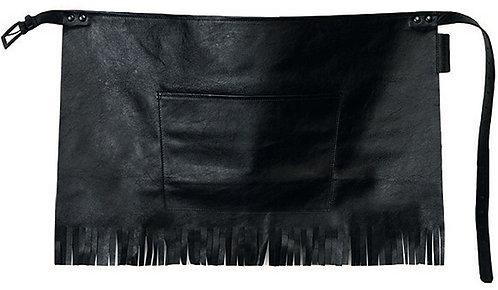 The European Black Fringe Leather Short Waist Apron
