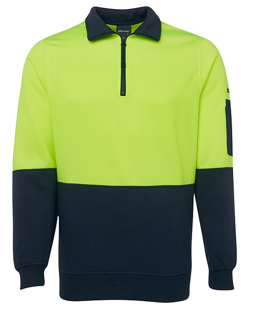 Hi Vis 1/2 Zip Fleecy Sweat - Lime/Navy