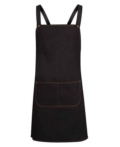 Long Black Denim Cross Back Apron with Changeable Straps