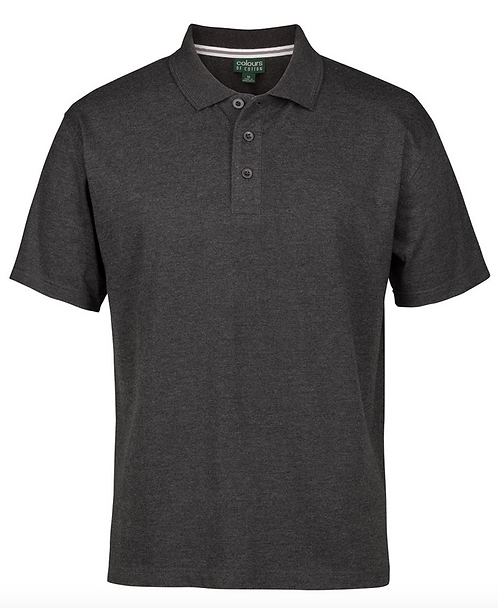 COLOURS OF COTTON JERSEY POLO -  GRAPHITE MARLE