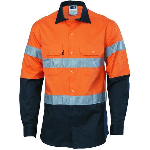 Hi Vis (D+N) 190gsm Cotton Drill LS Work Shirt - Orange/Navy
