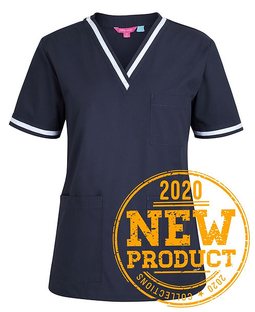 Ladies Essential Contrast Scrubs Top - Navy/White