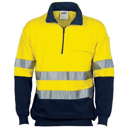 HiVis Two Tone 1/2 Zip Cotton Fleecy Windcheater with 3M R/Tape - Yellow