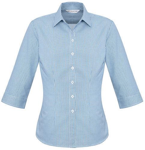 Womens Small Check 3/4 Shirt - Blue