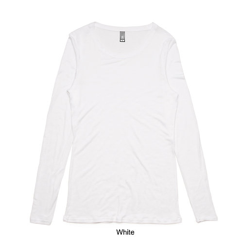 AS Colour Womens Fine LS Tee White - Available from