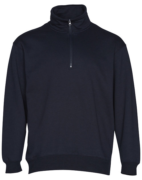 Men's Cotton Rich 1/2 Zip Fleece Sweat Top - Navy
