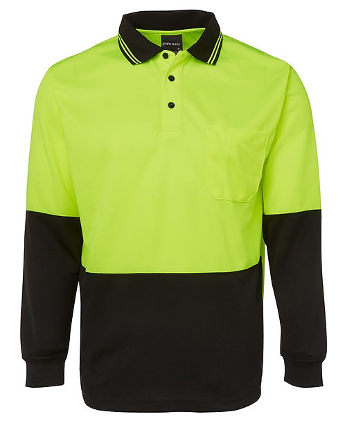 Hi-Vis L/S Polo - Lime/Black