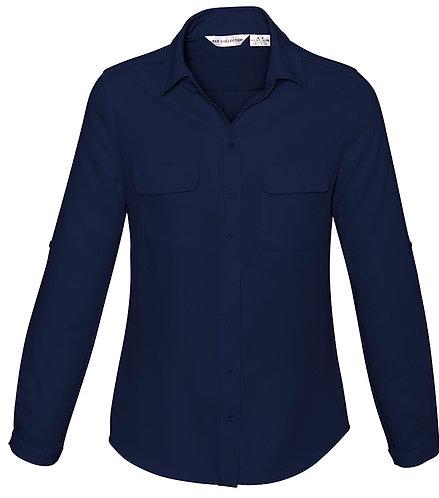 Ladies Madison Long Sleeve Shirt - Navy