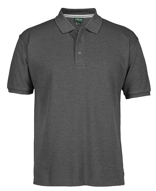 Mens Cotton Rich Pique SS Polo - Charcoal Marle