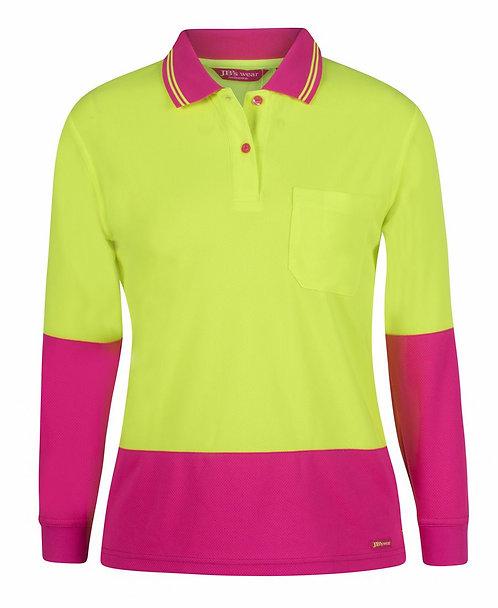 Womens Hi Vis L/S Comfort Polo - Lime/Pink