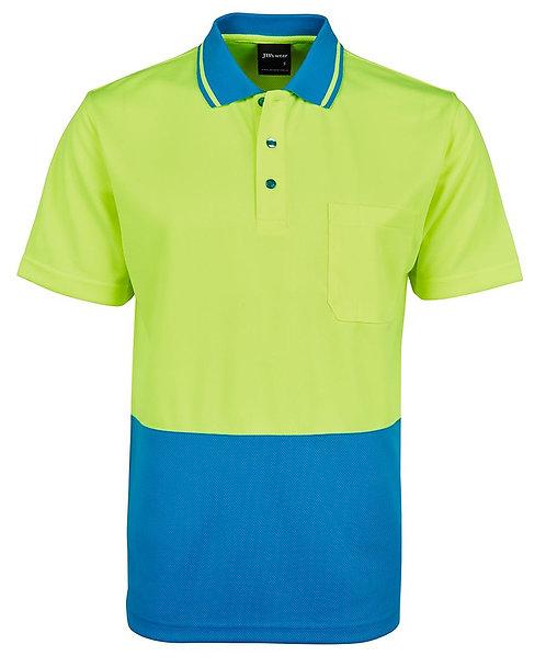 Hi Vis Non Cuff Traditional Polo - Lime/Aqua