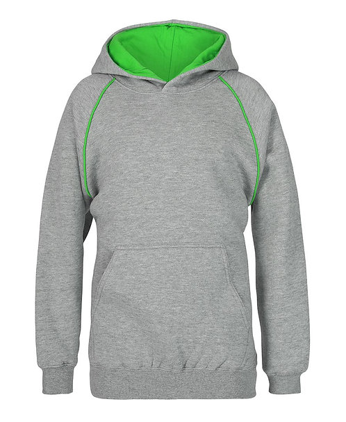 Contrast Fleece Hoodie - Grey/Green