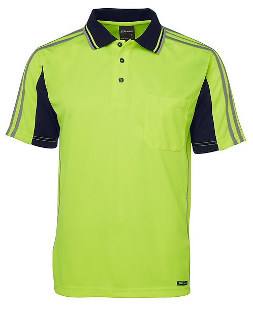 Hi-Vis SS Arm Tape Polo - Lime/Navy