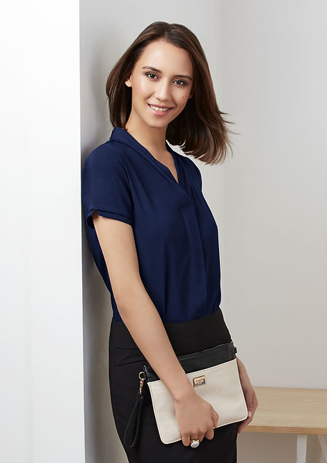 Ladies Madison Short Sleeve Blouse MOQ 5 - Navy