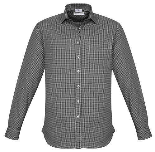 Mens Small Check LS Shirt - Black