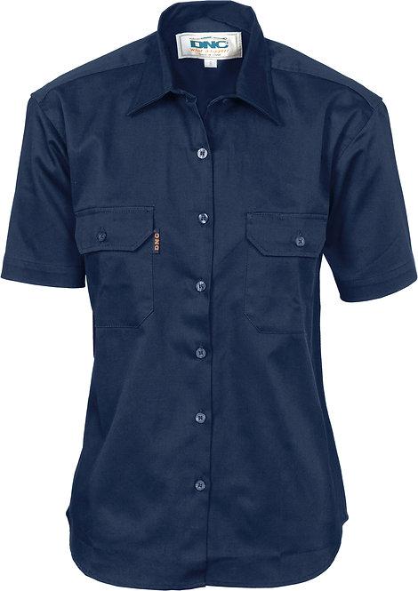 Ladies 190g Cotton Drill Work Shirt Short Sleeve - Navy