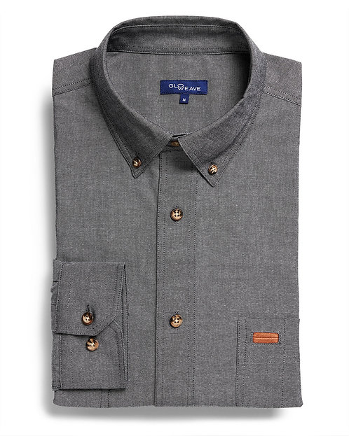 Mens 100% Cotton Iconic Chambray LS Shirt - Grey