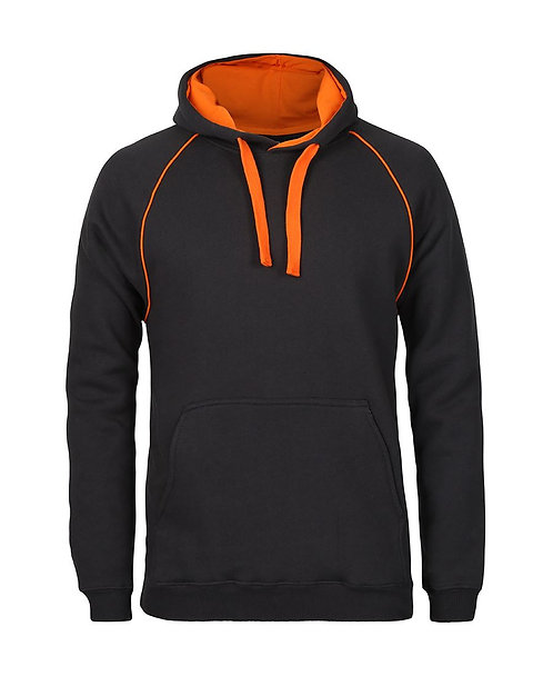 Contrast Fleece Hoodie - Gunmetal/Orange