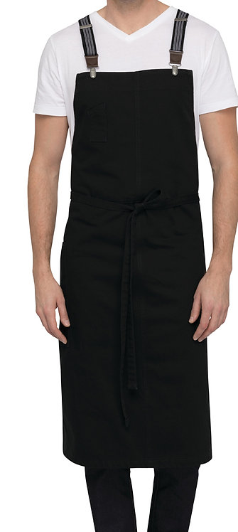 Berkeley Jet Black Chefs Bib Apron - Straps Included