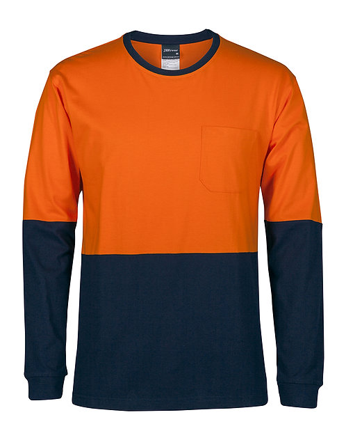 Hi-Vis L/S Crew Neck Cotton T-Shirt - Orange/Navy