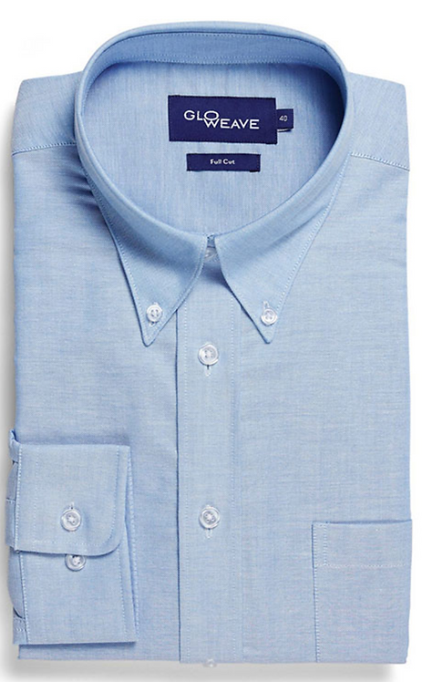 Mens Oxford Weave Long Sleeve Shirt - Blue