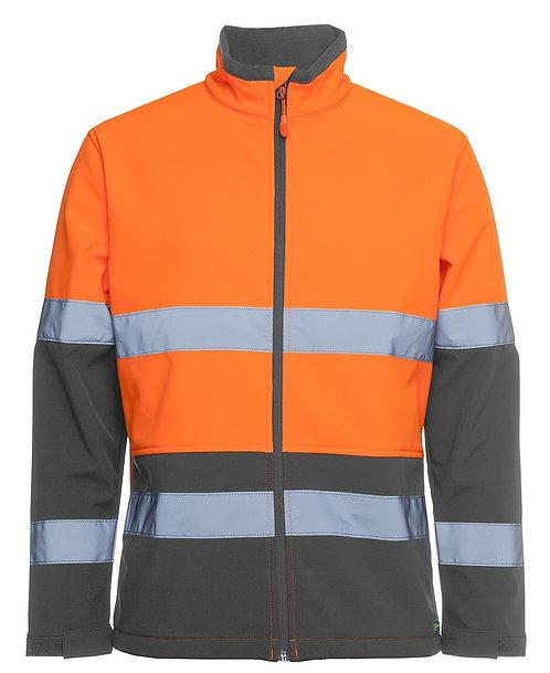Hi Vis D+N Water Resistant Softshell Jacket - Orange/Charcoal