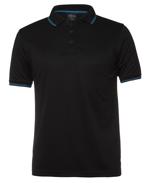 Podium Jacquard Polo - Black/Aqua