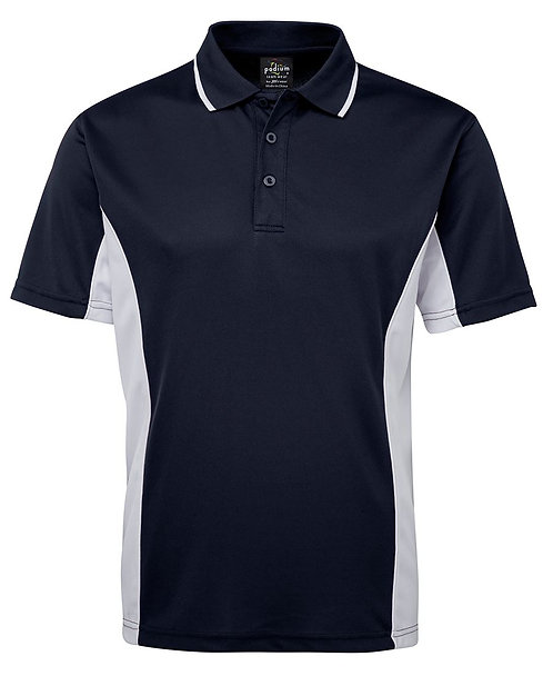 Mens Contrast Polo - Navy/White