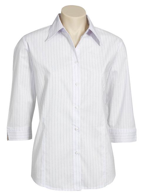 Ladies Manhattan 3/4 Sleeve Shirt - White/Black