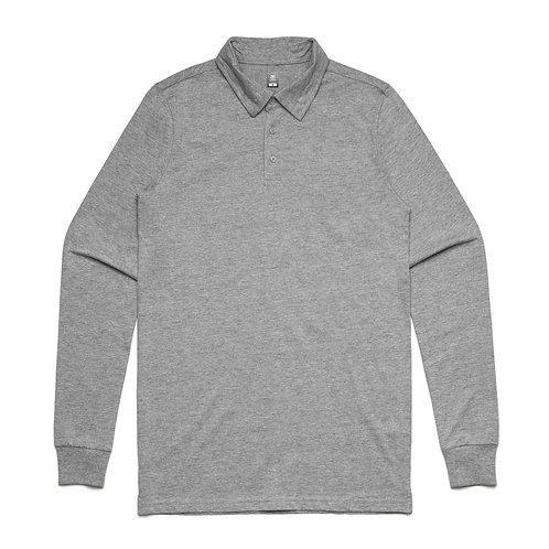 AS Colour Chad Long Sleeve Polo - Grey Marle