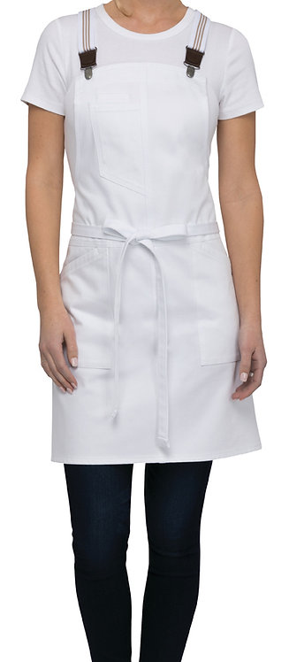 Berkeley Petite White Bib Apron - Suspenders Included