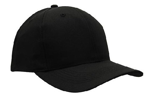 6 Panel Breathable Poly Twill Cap Black - MOQ 10