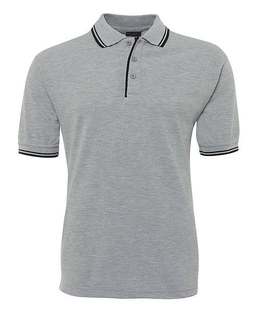 Mens Contrast Polo - Grey/Black