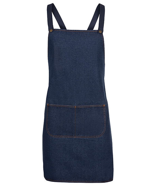 Exclusively Yours! Blue Denim Cross Bib Apron with Changeable Straps