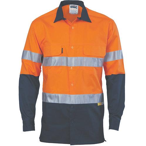 HiVis 3 Way Cool-Breeze Cotton Shirt with CSR/Tape - Long sleeve - Orange/Navy