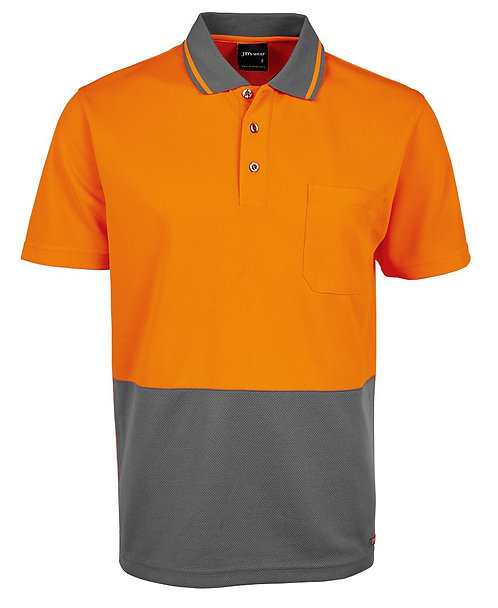 Hi-Vis Non Cuff Traditional Polo - Orange/Charcoal